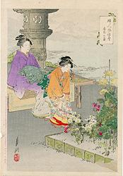 婦人風俗尽 庭前の菊 / 月耕