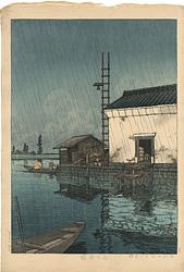 雨の牛堀 / 川瀬巴水