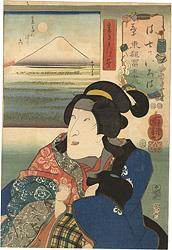 七ツいろは東都富士尽 は 裏たんぼのふし 裏見くづの葉 / 国芳
