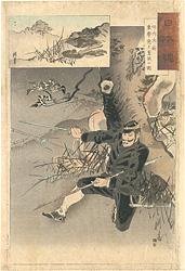 日本魂 竹内大尉 東学党と奮戦の図 / 耕濤