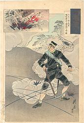 日本魂 工兵小野口徳重 爆烈弾を以て金州城門を破る図 / 耕濤