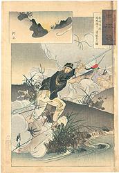 日本魂 松崎大尉 安城渡に勇戦する図 / 耕濤