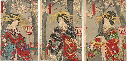 花競廓の夜桜 / 国周