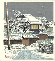 雪宵の京の町 / 徳力富吉郎