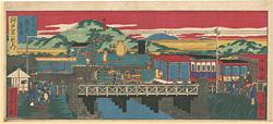 神戸名所の内 生田川鉄道蒸気 / 小信