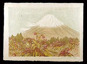日本名山画譜 籠阪峠から 富士あざみ咲く富士山 / 織田一磨