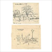 【自筆画稿】岡田謙三(洋画家)「ミルフォードの海岸/ウェストウッド ヴィレッジ」2枚