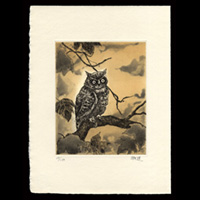 【銅版画】藤本能道(陶芸家・人間国宝)「木乃葉ずく」 昭和62年