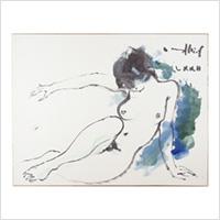 【自筆画色紙】古沢岩美(前衛芸術家)「裸婦図」昭和47年 共帙
