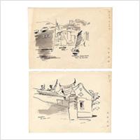 【自筆画稿】荻野康児(洋画家)「香港/台湾」2枚