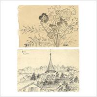 【自筆画稿】佐伯米子(洋画家)「ベルン スイス/花」2枚 ※佐伯祐三の妻