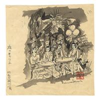 【自筆画稿】川島理一郎(洋画家)「夜のキャフェ」
