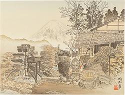 小沼の田家と富士 / 定方塊石