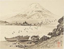 川口湖と富士 / 定方塊石