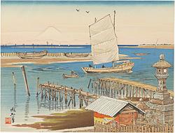 木更津海岸と富士 / 定方塊石