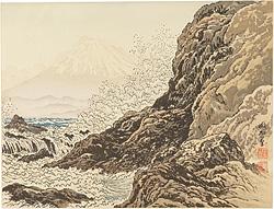 江の島稚児ヶ淵と富士 / 定方塊石