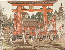 吉田神社と富士 / 定方塊石