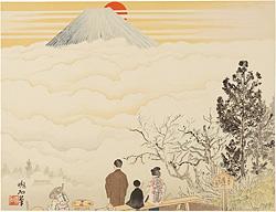七面山と富士 / 定方塊石