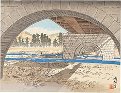 大井川橋と富士 / 定方塊石