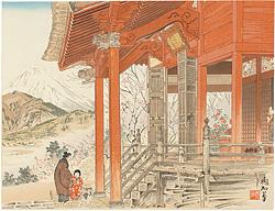 松田の観音堂と富士 / 定方塊石