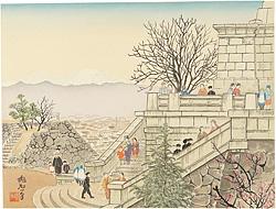 甲府公園と富士 / 定方塊石