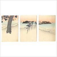 木版絵葉書 朝の海