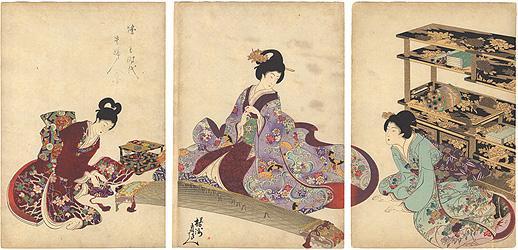 徳川時代貴婦人の図 琴 / 周延