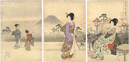 千代田之大奥 吹上の夕富士 / 周延