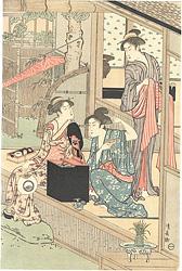 洗濯と張り物(右図)【復刻版】 / 清長