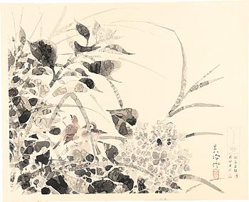 紫陽花小禽図 / 榊原紫峰
