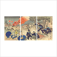 【浮世絵】小国政「牛荘市街大戦争之図」明治期