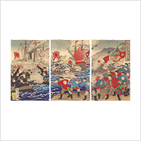 【浮世絵】楊斎延一「日清旅順口攻戦大勝利之図」明治27年