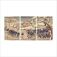 【浮世絵】小林幾英「我軍占領地軍用鉄道」明治28年