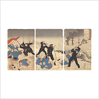 【浮世絵】楊洲周延「日清戦争之図 威海衛攻撃決死隊栄城湾ニ奮闘之図」明治28年