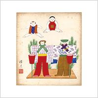 【自筆画色紙】清水桂月 #854