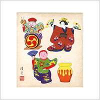 【自筆画色紙】清水桂月 #858