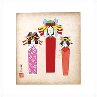 【自筆画色紙】清水桂月 #879