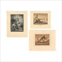 【銅版】アルフレート・ゼーダー「蔵書票」3枚 1911・12年
