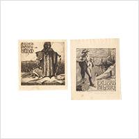 【銅版】エルンスト・ツィマーマン「蔵書票」2枚 1907・09年