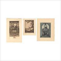 【銅版】フーベルト・ウィルム「蔵書票」3枚 1911・12年頃