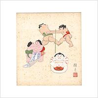 【自筆画色紙】清水桂月 #880