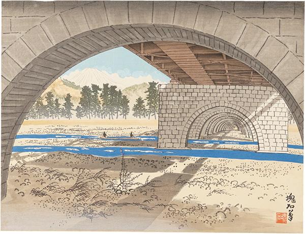 定方塊石「大井川橋と富士」/