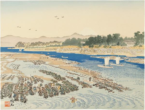 定方塊石「浜名湖弁天島と富士」/