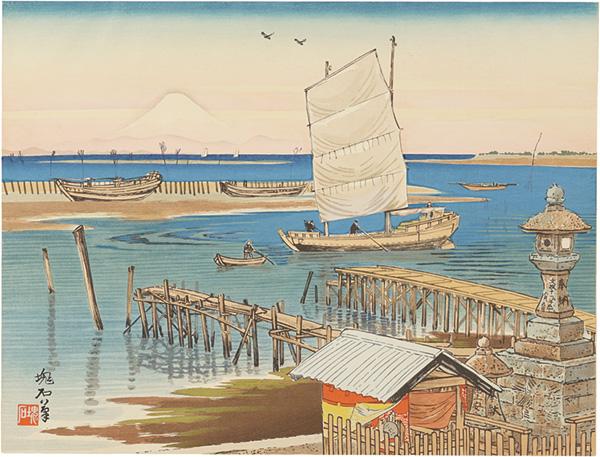 定方塊石「木更津海岸と富士」/