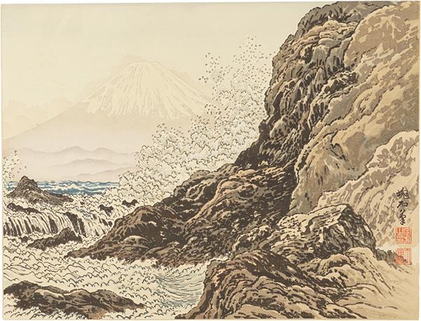 定方塊石「江の島稚児ヶ淵と富士」/