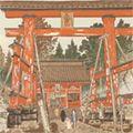 定方塊石「吉田神社と富士」