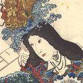 豊国三代「姿八景 姫垣の晩鐘 浦嶋の帰帆」