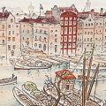 古城江観「世界風景及風俗版画 第一輯 拾枚組の七 和蘭、アムステルダム」