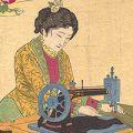 吟光(銀光)「貴女裁縫之図」