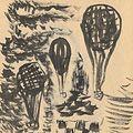 川上澄生「自筆画稿 気球図」